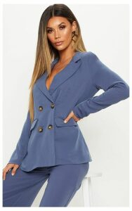 Blue Oversized Button Detail Woven Blazer, Blue