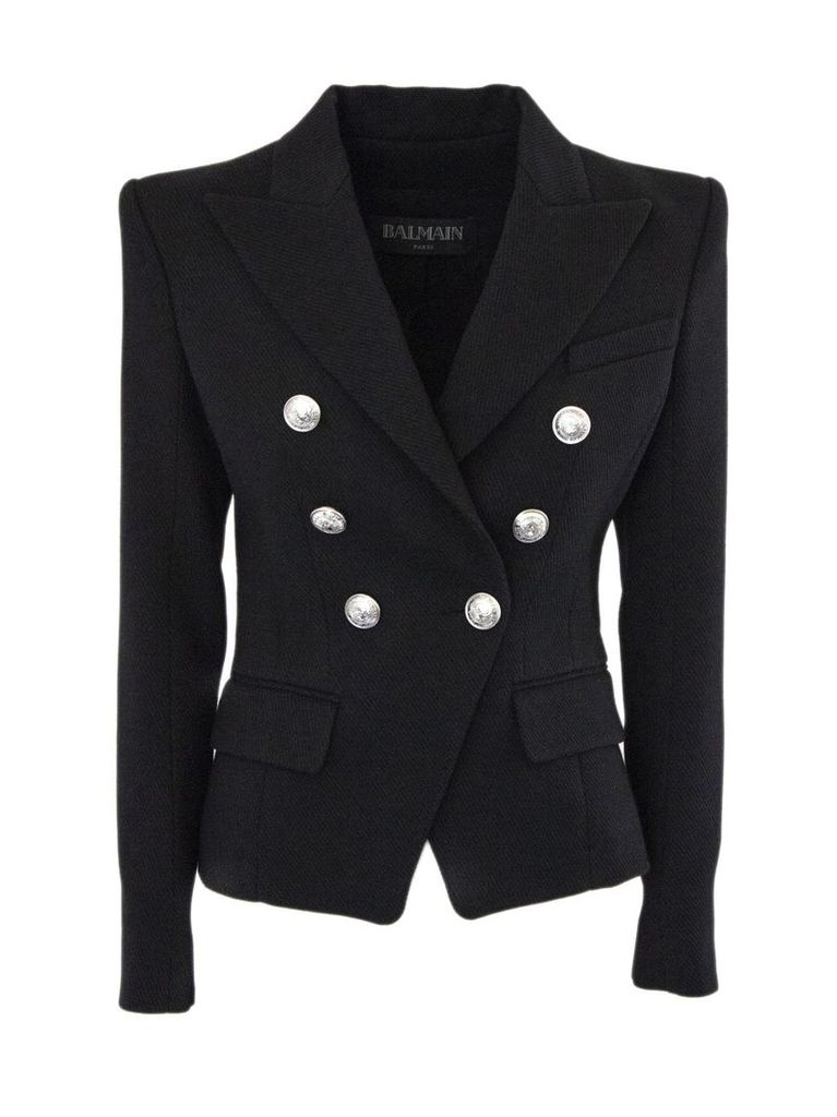 Balmain Black Cotton And Virgin Wool Blazer.