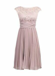 Womens *Jolie Moi Mauve Lace Pleated Dress- Purple, Purple