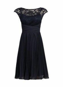 Womens *Jolie Moi Navy Lace Pleated Dress- Navy, Navy