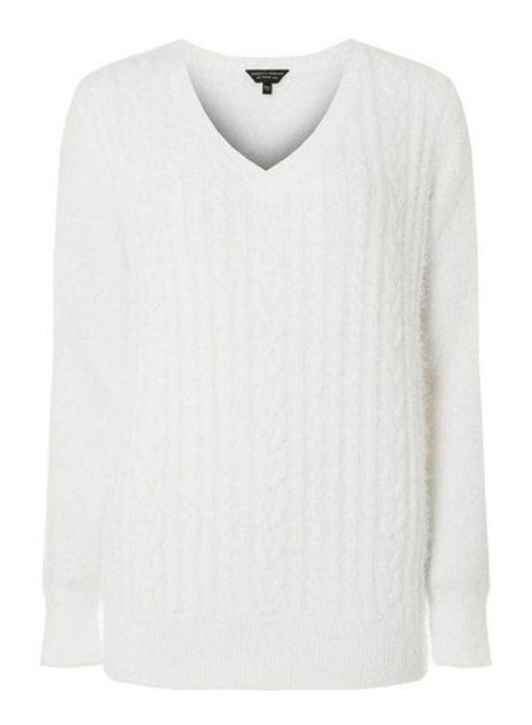 Womens Ivory Fluffy V-Neck Cable Jumper- White, White