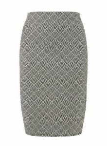 Womens **Dp Curve Monochrome Jacquard Pencil Skirt- Black, Black
