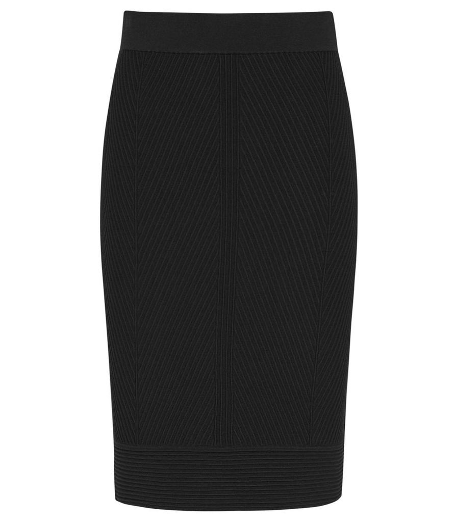 Reiss Melina - Textured Knitted Pencil Skirt in Black, Womens, Size XXL