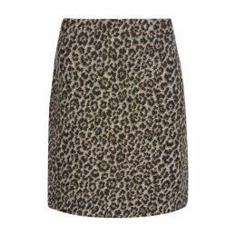 Leopard Print Jaquard ALine Skirt