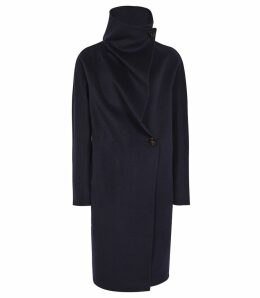 Reiss Antonia - Wrap Collar Coat in Navy, Womens, Size XL