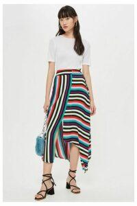 Womens Striped Hanky Hem Midi Skirt - Multi, Multi