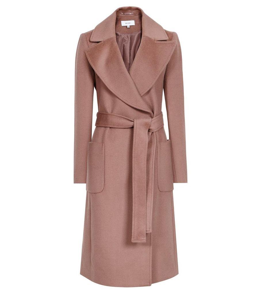 Reiss Faris - Belted Longline Coat in Mocha, Womens, Size 14