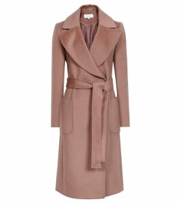 Reiss Faris - Belted Longline Coat in Mocha, Womens, Size 14