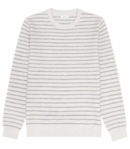 Reiss Stevenson - Striped Crew Neck Jumper in Soft Grey, Mens, Size XXL