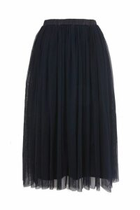 Womens **Navy Tulle Midi Skirt By Lace & Beads - Navy Blue, Navy Blue