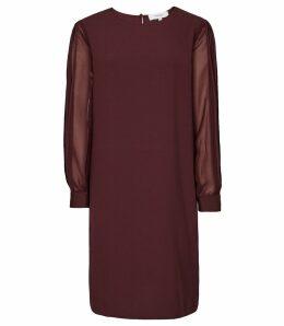 Reiss Amerie - Pleat Sleeve Shift Dress in Berry, Womens, Size 16