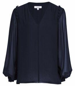 Reiss Dana - Button Detail Blouse in Navy, Womens, Size 14