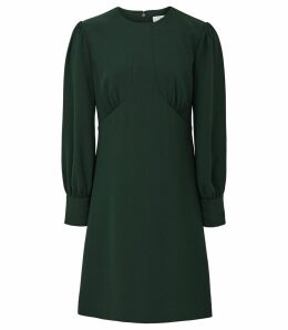 Reiss Analise - Seam Detail Crepe Dress in Deep Green, Womens, Size 16