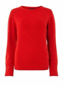 Womens Red Heart Bobble Jumper- Red, Red
