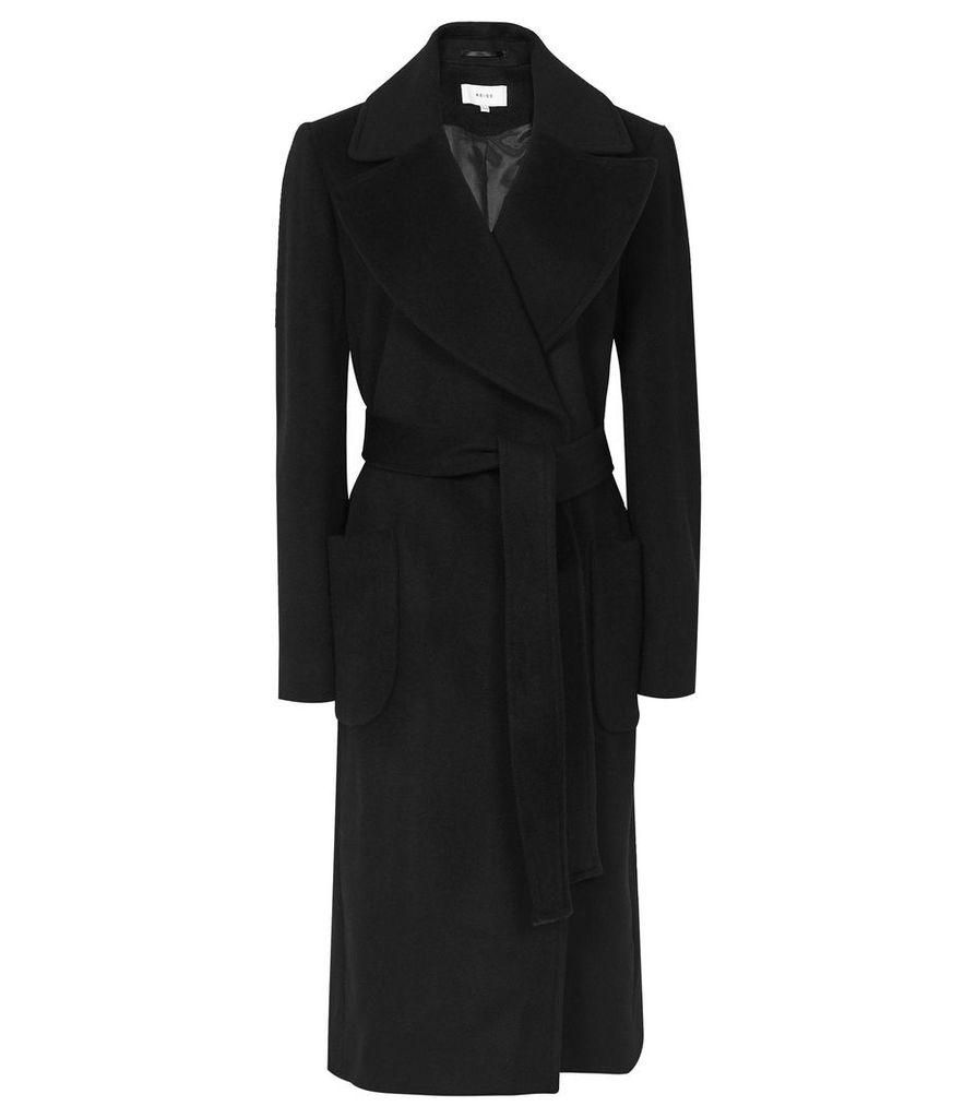 Reiss Faris - Belted Longline Coat in Black, Womens, Size 14