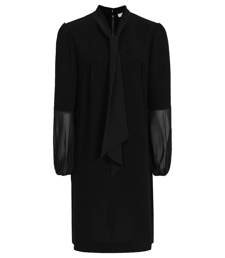 Reiss Ronda - Tie Neck Shift Dress in Black, Womens, Size 16