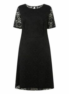 Womens **Dp Curve Black Short Sleeve Lace Fit And Flare Dress- Black, Black