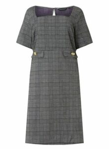 Womens **Dp Curve Check Print Button Pocket Fit And Flare Dress- Grey, Grey