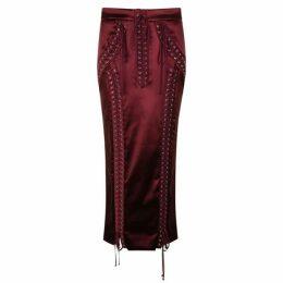DOLCE AND GABBANA Satin Midi Pencil Skirt