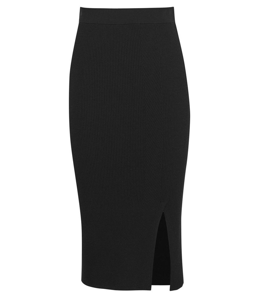 Reiss Naomi - Knitted Midi Skirt in Black, Womens, Size XXL