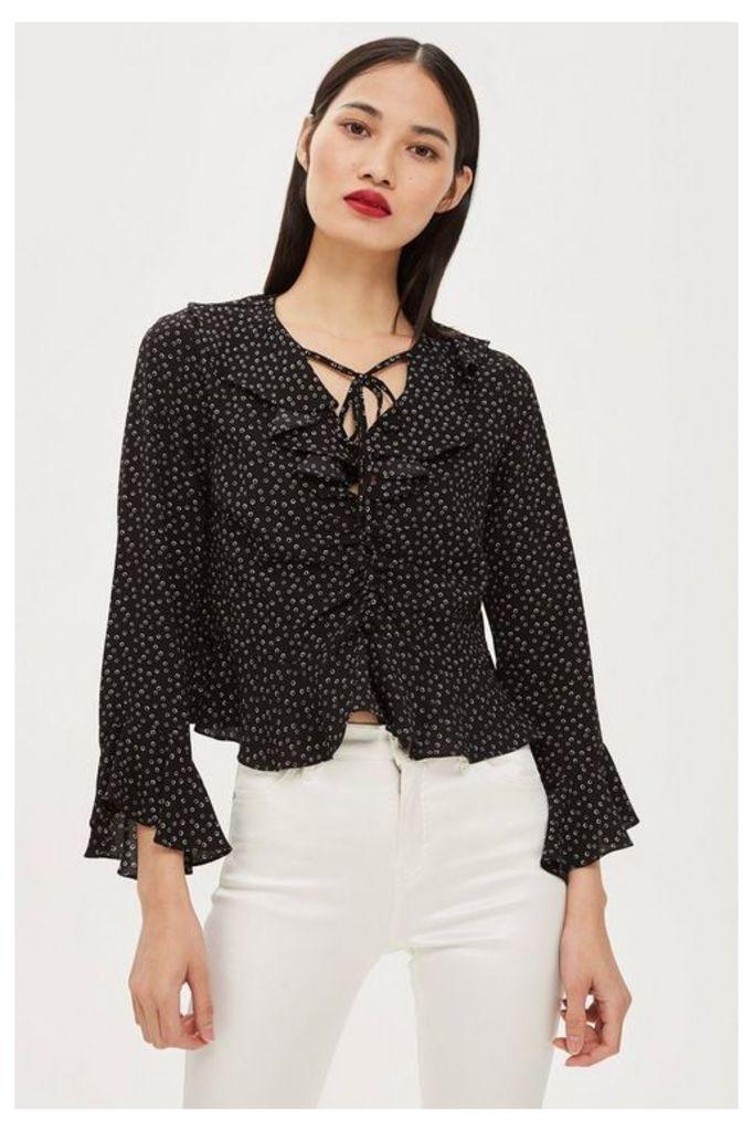 Womens Petite Spot Ruffle Blouse - Black, Black