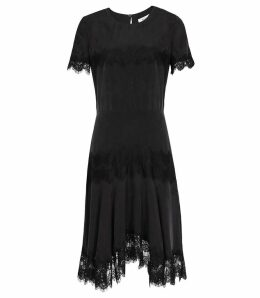 Reiss Kelis - Lace Trim Dress in Black, Womens, Size 16