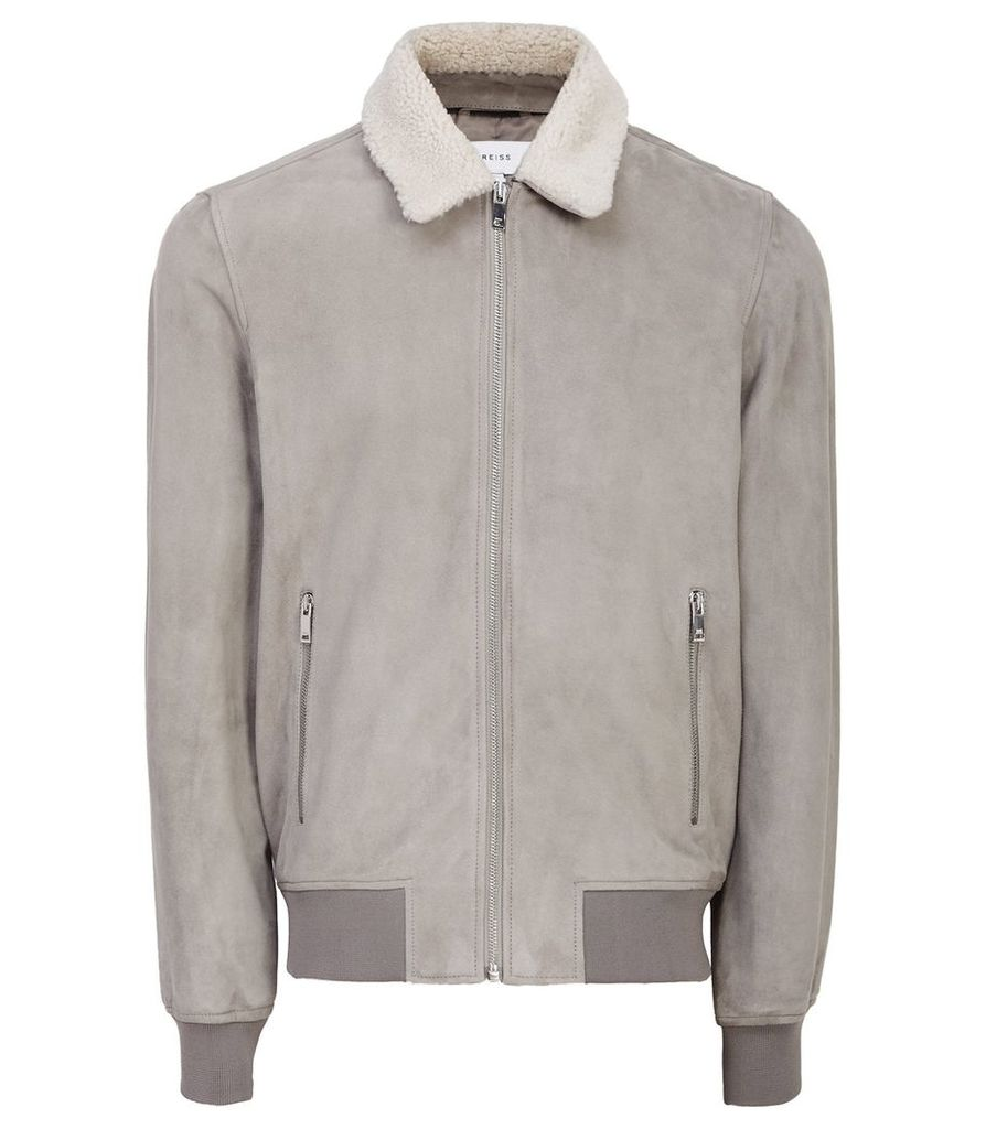 Reiss River - Suede Bomber With Detachable Collar in Stone, Mens, Size XXL