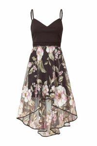 Womens Sistaglam Floral Midi Dress -  Black