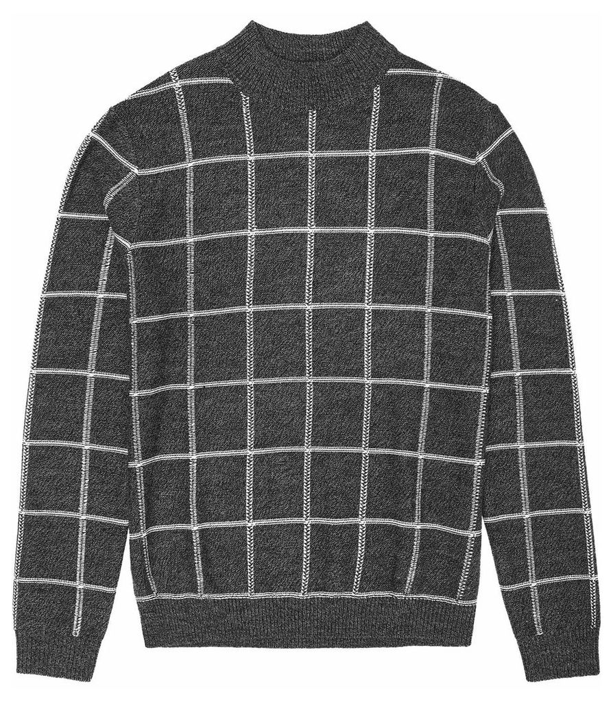 Reiss Payne - Windowpane Check Jumper in Grey, Mens, Size XXL