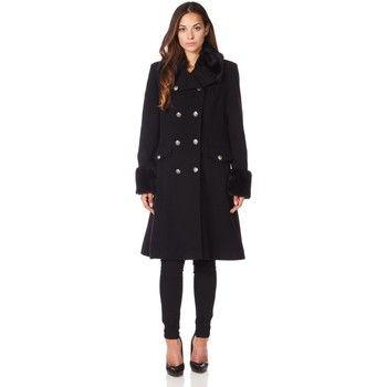 De La Creme  Military Cashmere Wool Winter Coat Fur Collar  women's Trench Coat in Black