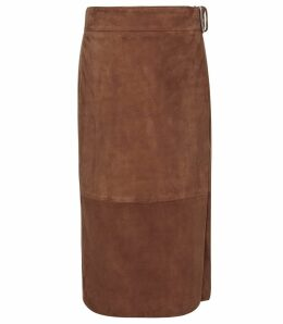 Reiss Milly - Suede Midi Skirt in Brown, Womens, Size 14
