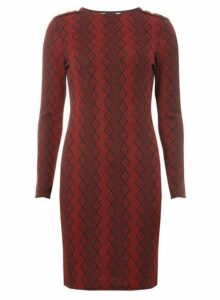 Womens Red Geometric Button Detail Bodycon Dress- Red, Red