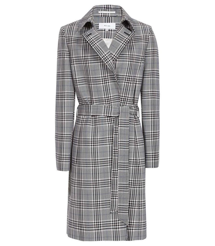 Reiss Eden - Checked Mac Coat in Black/white, Womens, Size 14