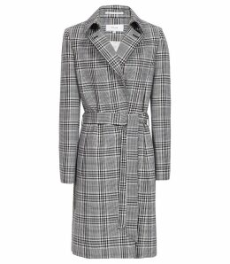 Reiss Eden - Checked Mac Coat in Black/white, Womens, Size 14