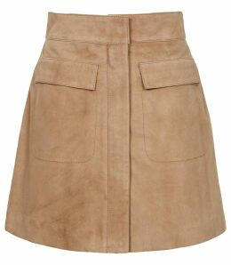 Reiss Leah - Suede Mini Skirt in Stone, Womens, Size 14