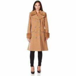De La Creme  Military Cashmere Wool Winter Coat Fur Collar  women's Trench Coat in Beige
