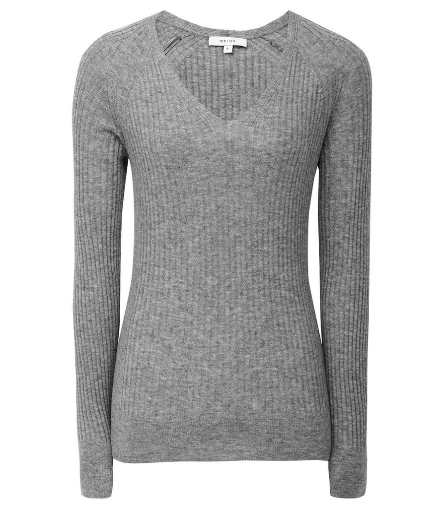 Reiss Elouise - Ribbed V-neck Jumper in Grey, Womens, Size XXL