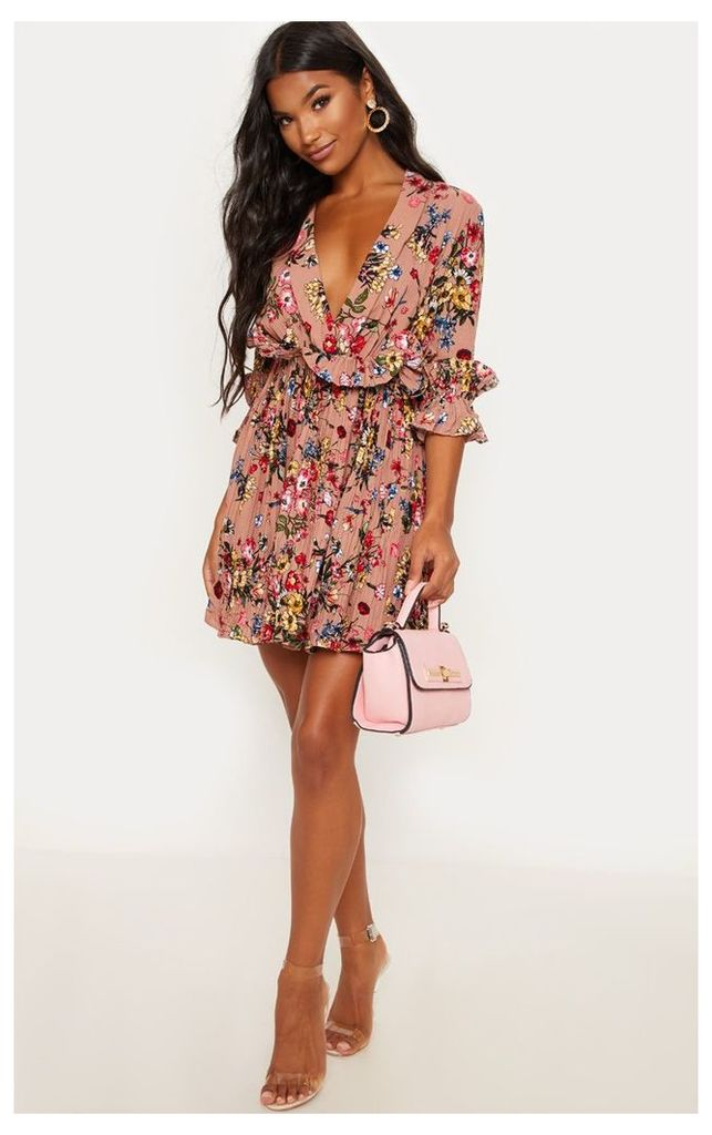 Dark Nude Floral Frill Detail Pleated Skater Dress, Dark Nude