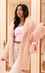 Pink Teddy Faux Fur Coat, Pink