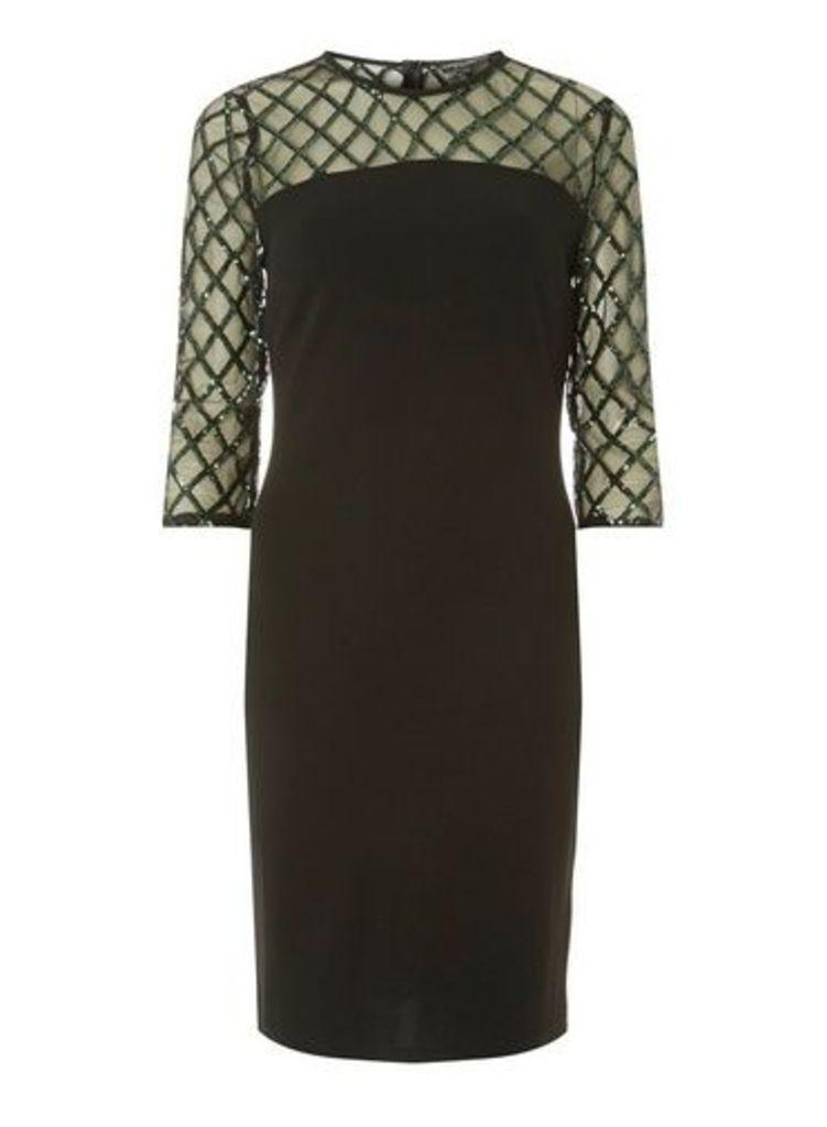 Womens **Black Green Diamond Bodycon Dress- Black, Black