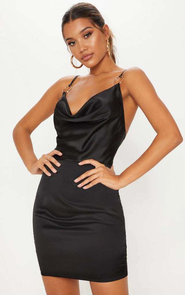Black Satin Cowl Neck Ring Detail  Bodycon Dress, Black