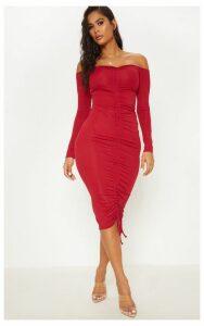 Burgundy Ribbed Ruched Bardot Midi Dress, Red