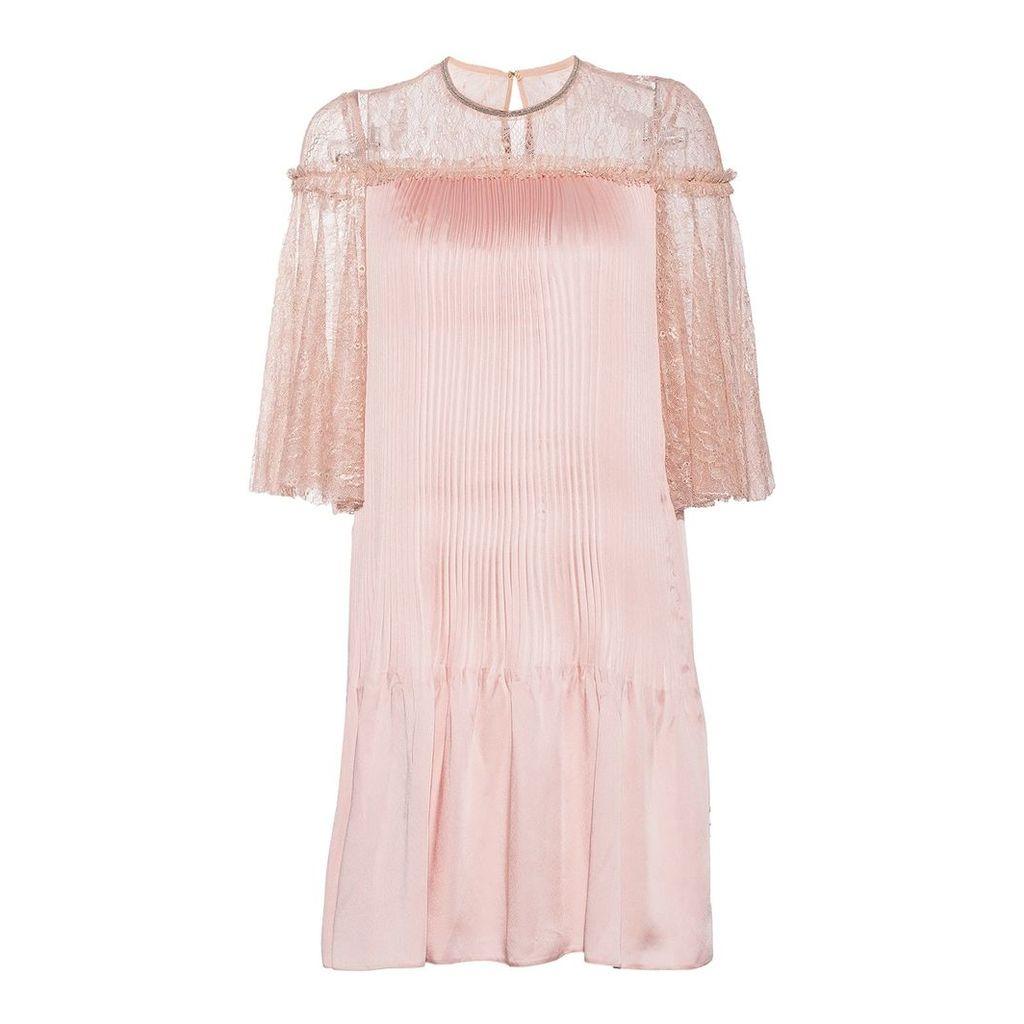 Nissa - Elegant Dress With Shiny Effect & Lace Details