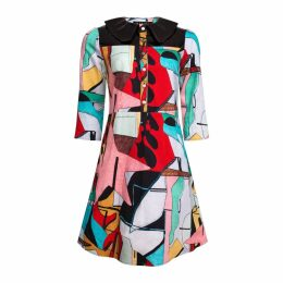 Manley - Mia Print Dress With Patent Leather Collar