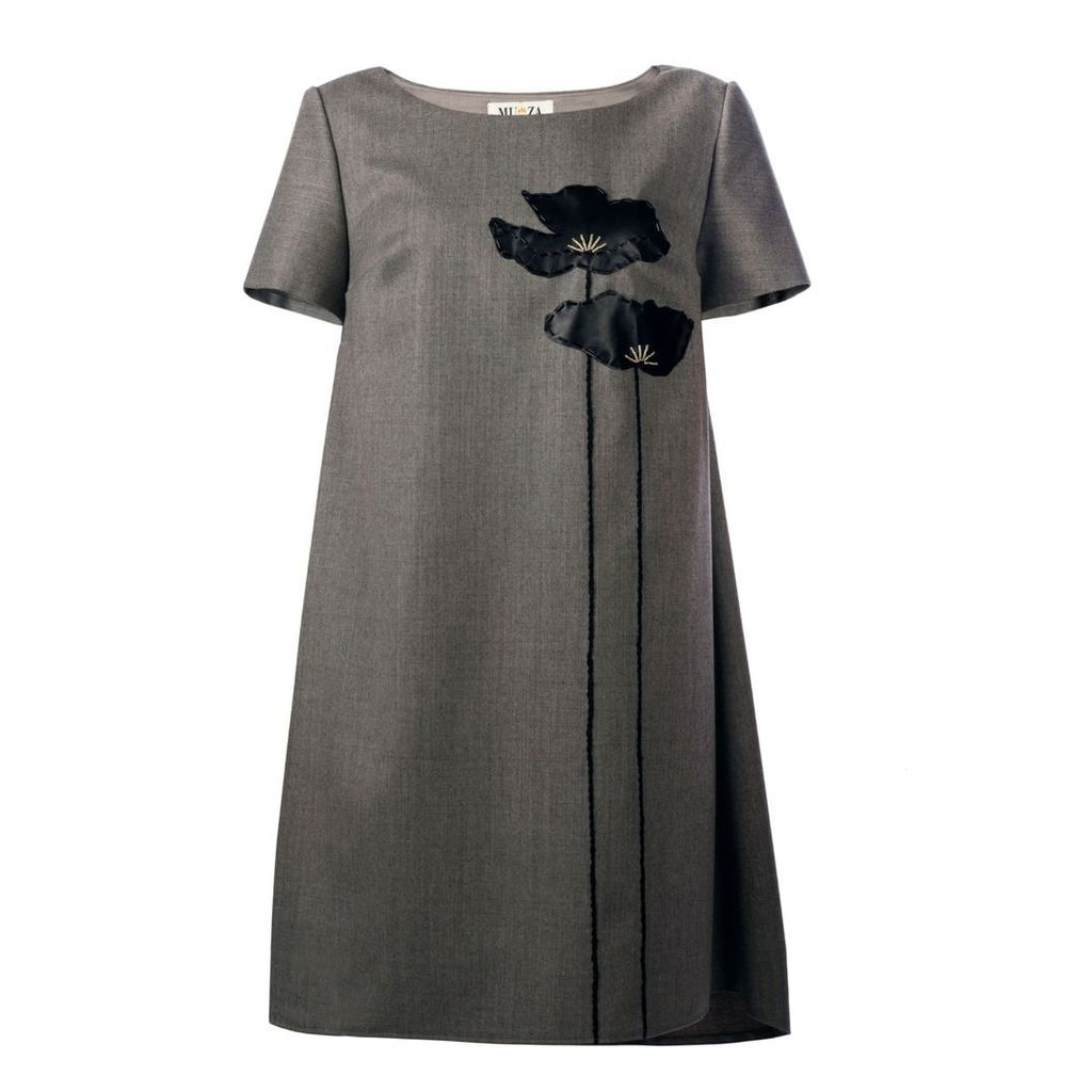 MUZA - Poppies Asymmetric Dress With Leather Appliqué