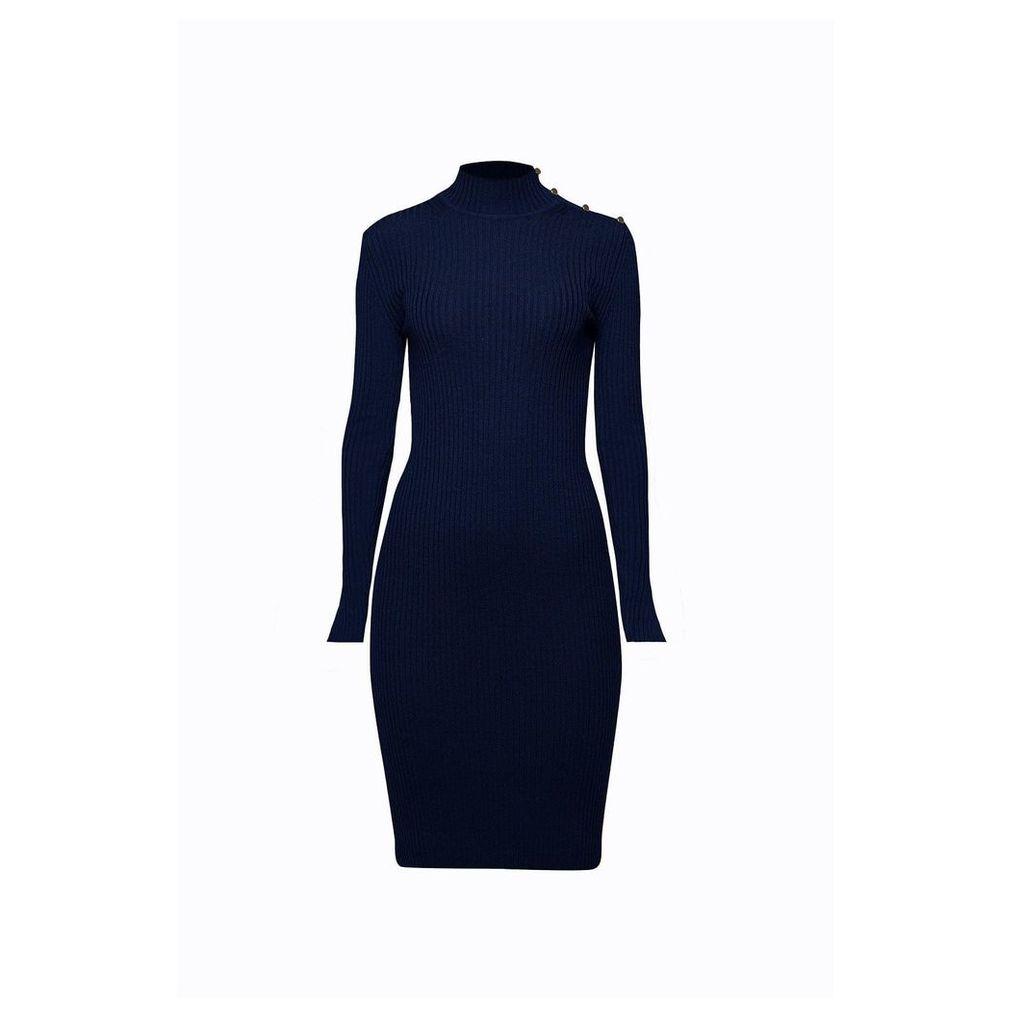 Rumour London - Andrea Ribbed Wool Midi Dress In Midnight Blue