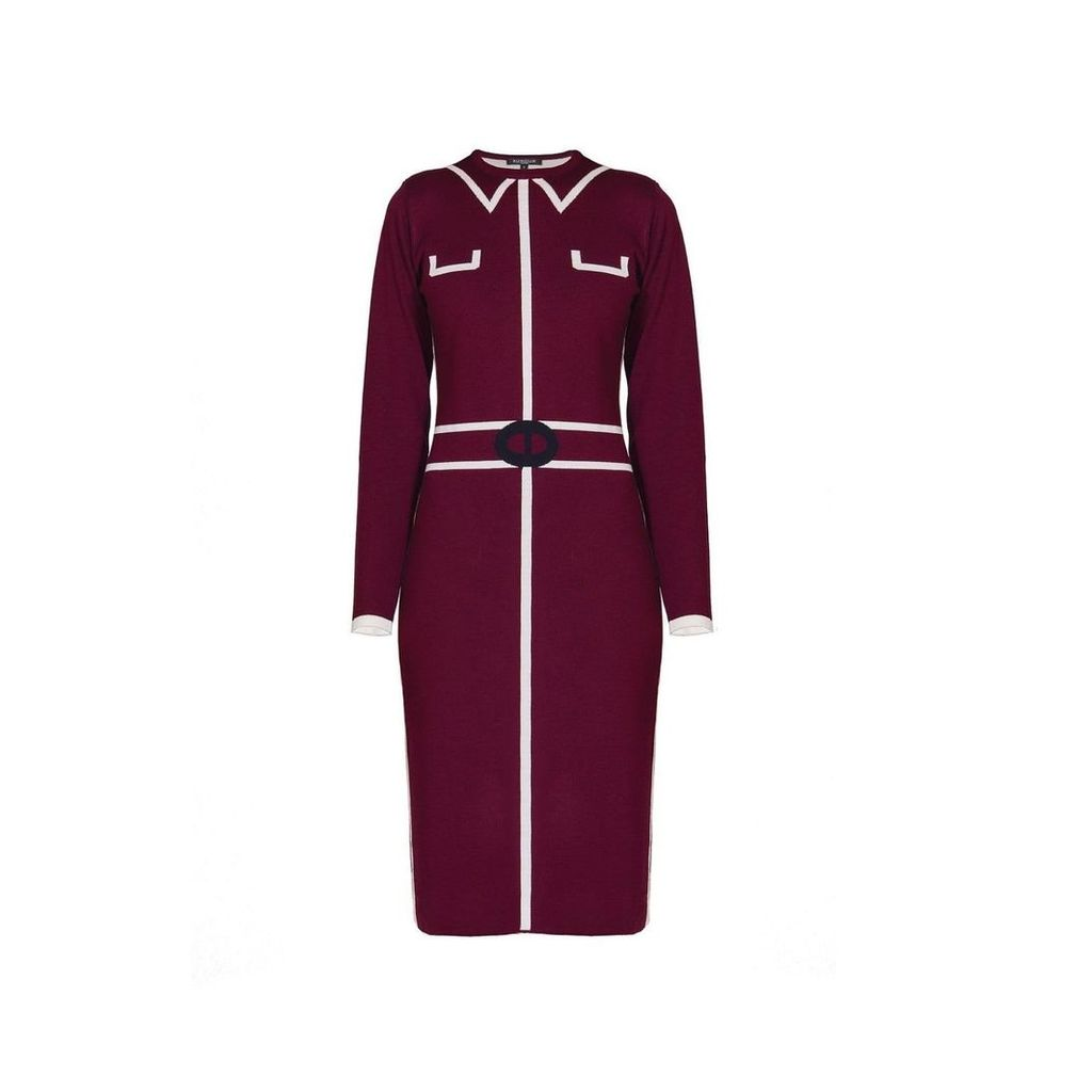 Rumour London - Claire Knitted Jacquard Dress In Mulberry