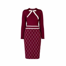 Rumour London - Chloe Bow Jacquard Knitted Dress in Mulberry