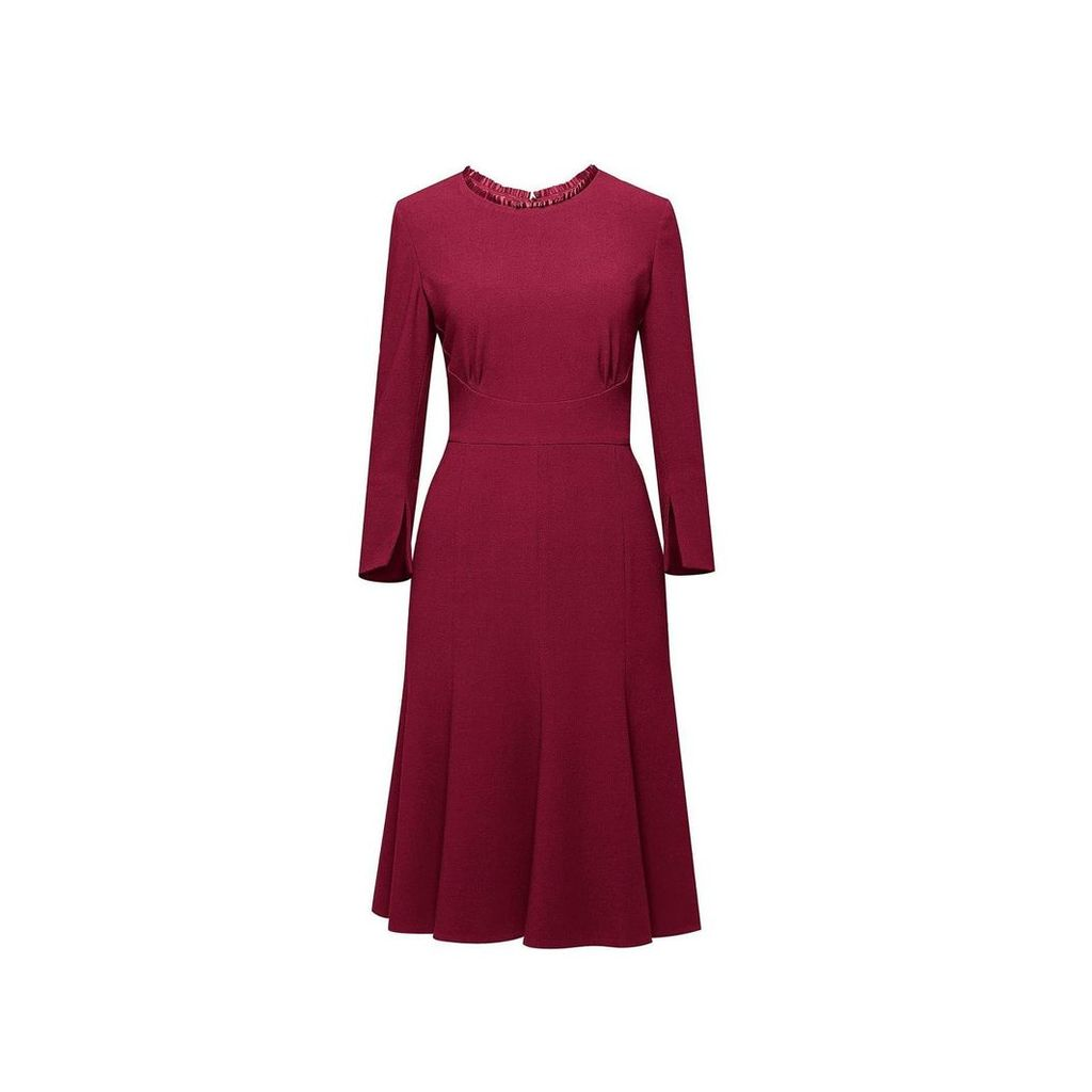 Rumour London - Christina Burgundy Fluted Dress