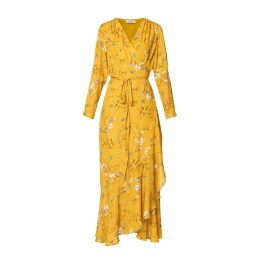 PAISIE - Floral Tie Wrap Maxi Dress With Frills In Yellow